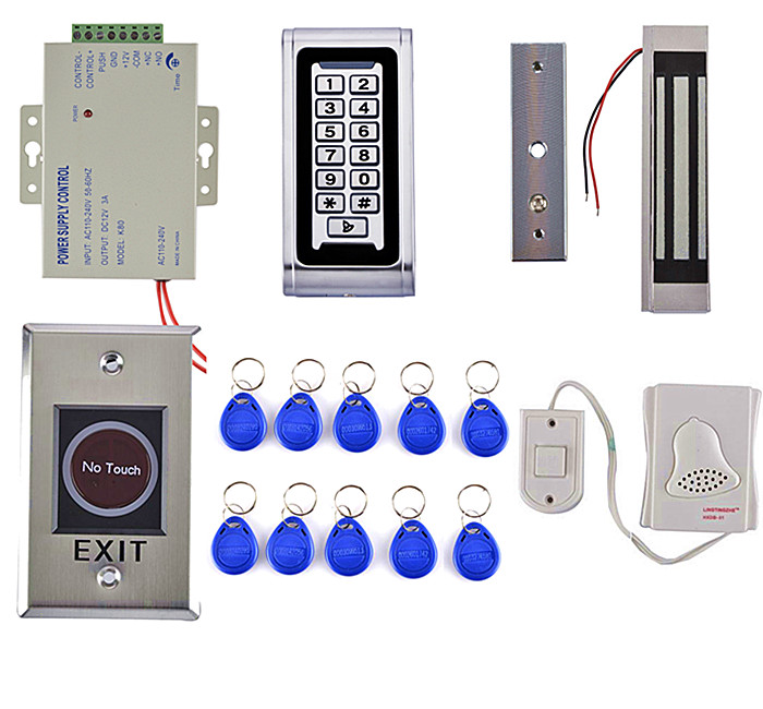 No Touch Button 125KHz RFID Metal Keypad Access Control System Kit +180kg Magnetic Door Lock + Door Bell diysecur touch button rfid 125khz metal keypad door access control security system kit magnetic lock for home office use