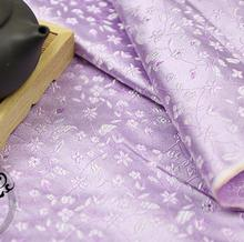 75*100  Floral Satin Jacquard Brocade Fabric  Dress Fabrics Light Purple