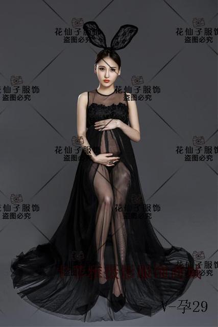 21567fbe2 Maternidad fotografía Props embarazo ropa negro gasa encaje maternidad  vestidos para fotos mujer embarazo A4