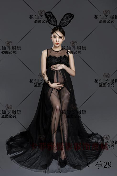 Maternity Photography Props Pregnancy Clothes Black Chiffon Lace Maternity gowns for photo shoots Pregnancy woman A4 woman fashion slim solid knee distrressed maternity wear jeans premama pregnancy prop belly adjustable pants for women c73