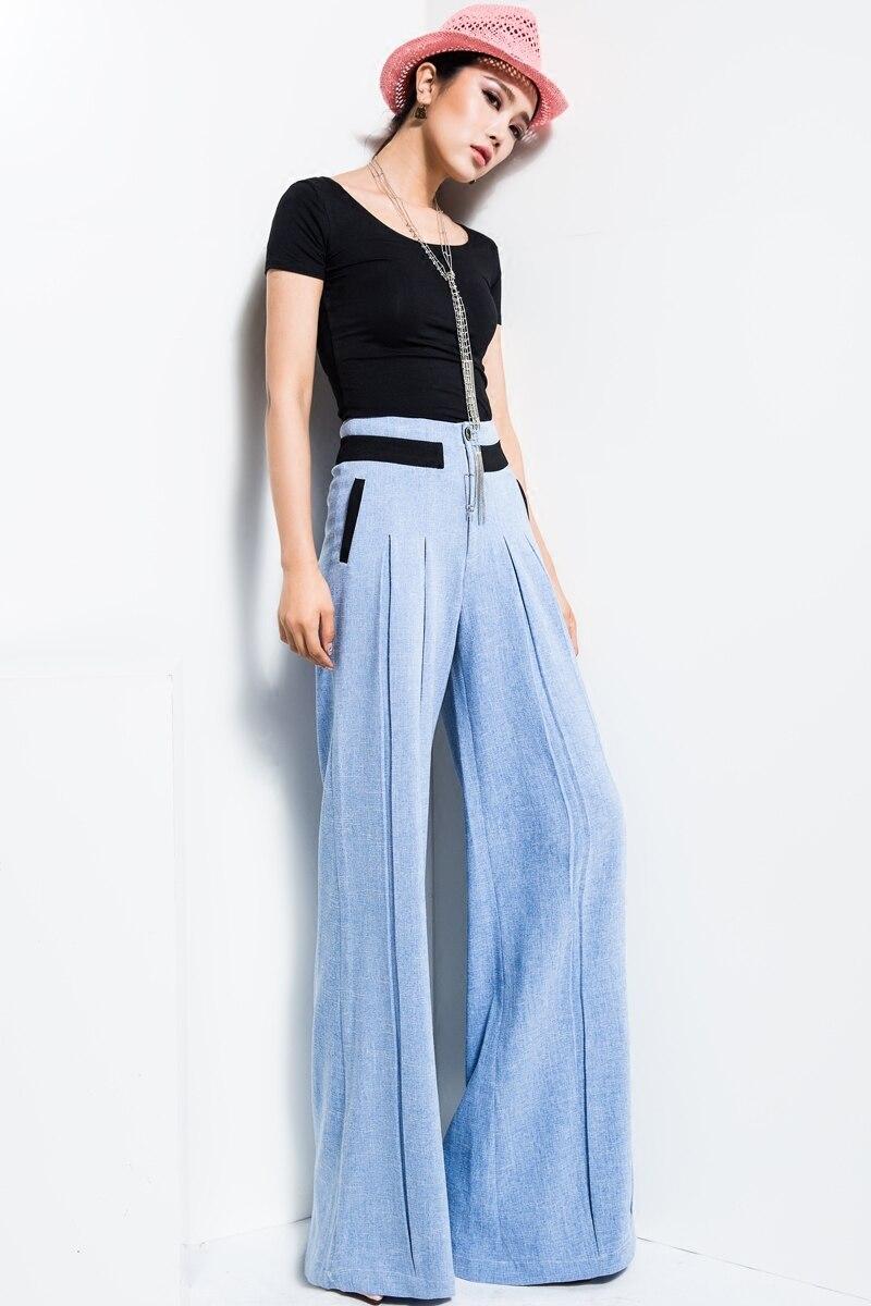 Vrouwen Nieuwe Effen Kleur Rechte Broek Blauw Hoge Taille Streetwear Casual Mode Groothandel Wijde Pijpen Broek Plus Size TrousersMK0018 - 4