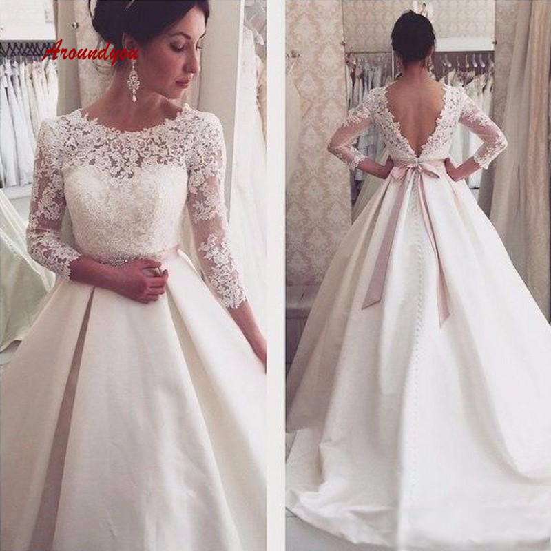 Vintage Long Sleeve Lace Wedding Dresses Satin Plus Size Turkey Weding Weeding Bridal Bride Gowns Dresses