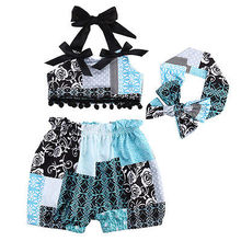 Newborn Baby Girl Tops Vest T-shirt + Shorts Pants Head Band Outfits Sleeveless Set Clothes Baby Girl 0-24M