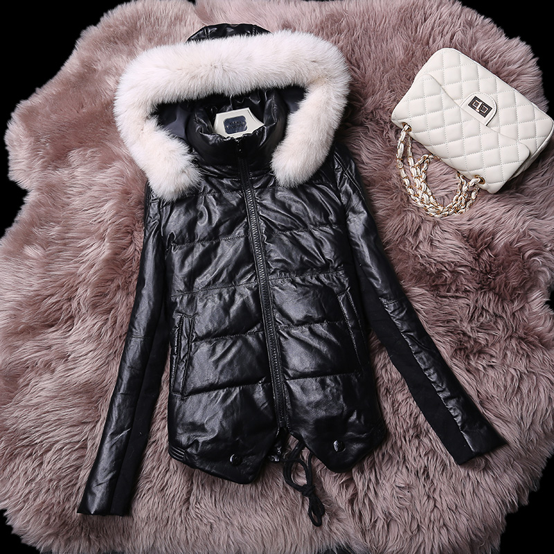 Winter New Fashion Women's women's medium-long slim fox fur genuine leather down coat leather clothing outerwear  Free shipping free shipping ems 2015 new women ladies winter down coat black white coat medium long down fashion winter outerwear personalized