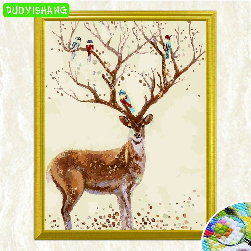 Home & Garden Duoyishang 5d Diy Diamond Painting Animals Landscape Diamond Embroidery Deer Picture Of Rhinestones Mosaic Christmas Decoration Moderate Price