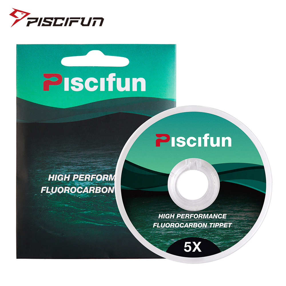Piscifun fluorocarbon Fly Fishing Tippet Low Visibility Superior Abrasion Resistance 33yd 0/1/2/3/4/5/6X