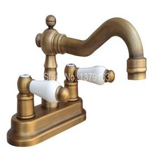 Vintage Retro Antique Brass Kitchen Bathroom Vessel Sink Two Holes Faucet Dual Ceramics Handles Water Tap anf326