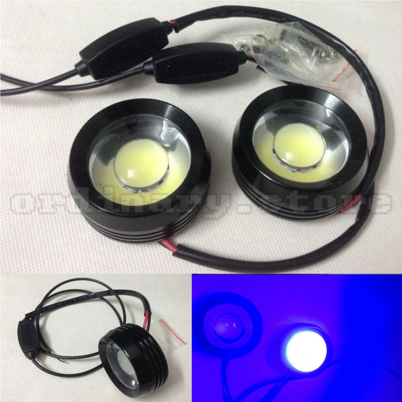 1 Pair Super Bright 18W Blue LED Eagle Eye Hawkeye Car Headlight DRL Daytime Running Light Driving Fog Daylight Safety Head Lamp new arrival a pair 10w pure white 5630 3 smd led eagle eye lamp car back up daytime running fog light bulb 120lumen 18mm dc12v