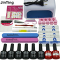 Nail Art Manicure Tools 36W UV Lamp + 6 Color 10ml soak off Gel base gel top coat polish and Remover Practice set File kit