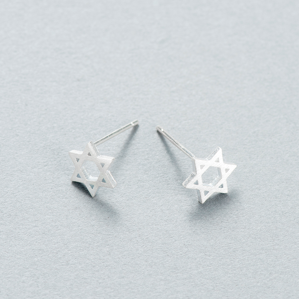 USA Seller Open Star Stud Earrings Solid Sterling Silver 925