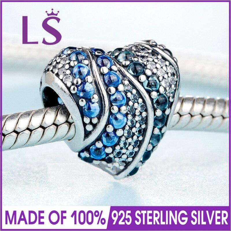 2018 printemps nouveau 925 argent bleu cristaux Aqua coeur charme Fit Original Bracelets et collier bricolage cadeau. femmes bijoux de mariage perles. N
