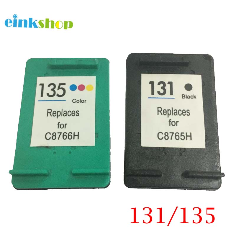 einkshop תואם עבור hp 131 135 מחסנית דיו עבור hp Deskjet 460 5743 5940 5943 6843 photosmart 2573 2613 PSC1600 2350printer