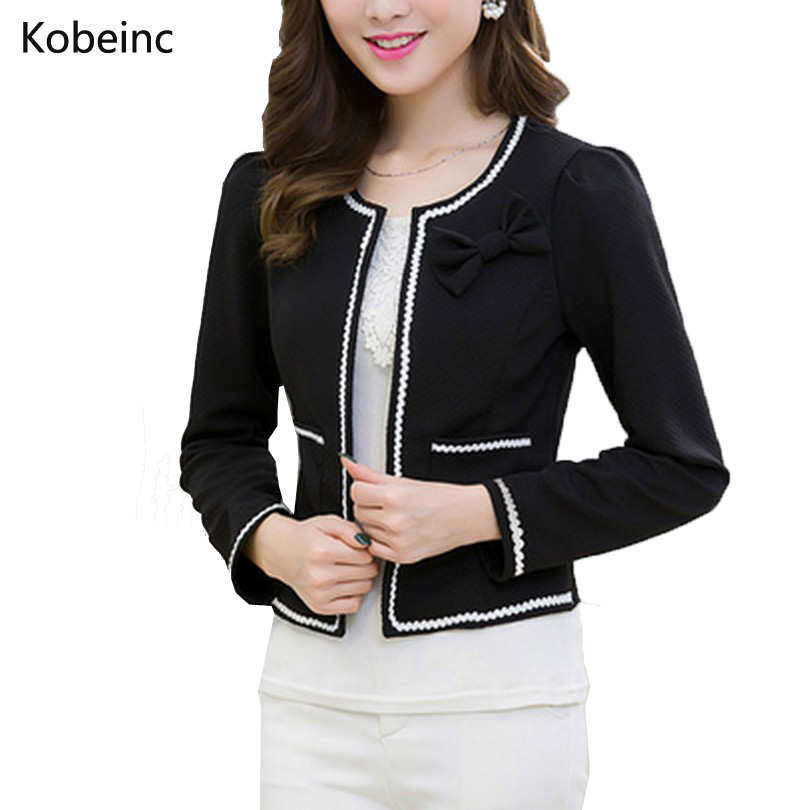 Fashion Hit Color Elegant Women Blazers Round Neck Long Sleeve Formal Jackets S 3XL Casaco Patch