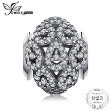 Jewelrypalace 925 Sterling Silver Cluster Glitter Cubic Zirconia Waterdrop Beads Charms Bracelets Gifts For Her Fashion Jewelry