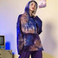 Корейский Harajuku женские худи и толстовки 2019 Новое поступление BF Стиль Весна уличная мода печать передний карман Толстовка