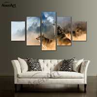 5 Panel Wall Art Wolf In The Snow Canvas Painting Printing Framed Pictures For Living Room