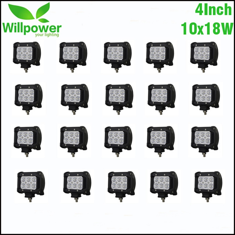 20PCS 4 18W LED Work Light Lamp Light Bar Motorcycle Tractor Truck Boat Off Road 4WD