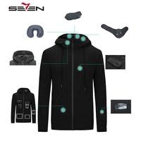 Seven7 Brand Smart Parkas Men's Fashion Travel Parkas Smart Warm Coat MultiFunction Eyeshade Hat Shoulder Bag Coat 113K20420