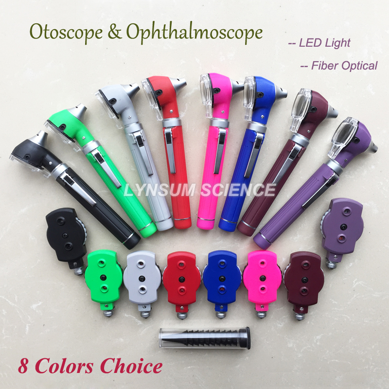 LED Fiber Optic Otoscope Ophthalmoscope Opthalmoscope Ear Care ENT Diagnostic Examination Set