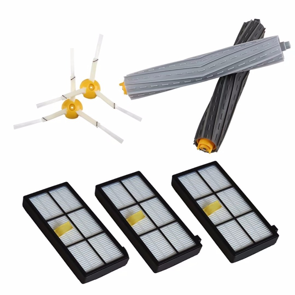 2pcs Side Brush 3-armed+  Filters +Tangle-Free Debris Extractor for iRobot Roomba 800 900 Vacuum Cleaners 980 890 880 870 860 6 pieces 3pcs brush 3pcs screw replacement 3 armed side brush with screw for irobot roomba 500 600 700 vacuum cleaners parts