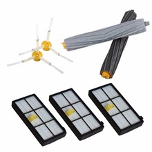 2pcs Side Brush 3-armed+ Filters +Tangle-Free Debris Extractor for iRobot Roomba 800 900 Vacuum Cleaners 980 890 880 870 860