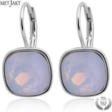 цены MetJakt 925 Sterling Silver Earrings for Women Fashion White Austrian Crystal Opal Earrings Wedding Jewelry