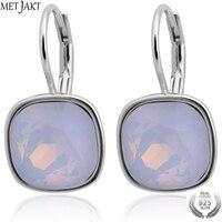 MetJakt 925 Sterling Silver Earrings for Women Fashion White Austrian Crystal Opal Earrings Wedding Jewelry