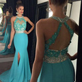 Stunning Long Formal Evening Dress Mermaid Sexy Split Beaded Halter Sparkly Prom Gown Open Back Lace Applique Sky Blue Prom Wear