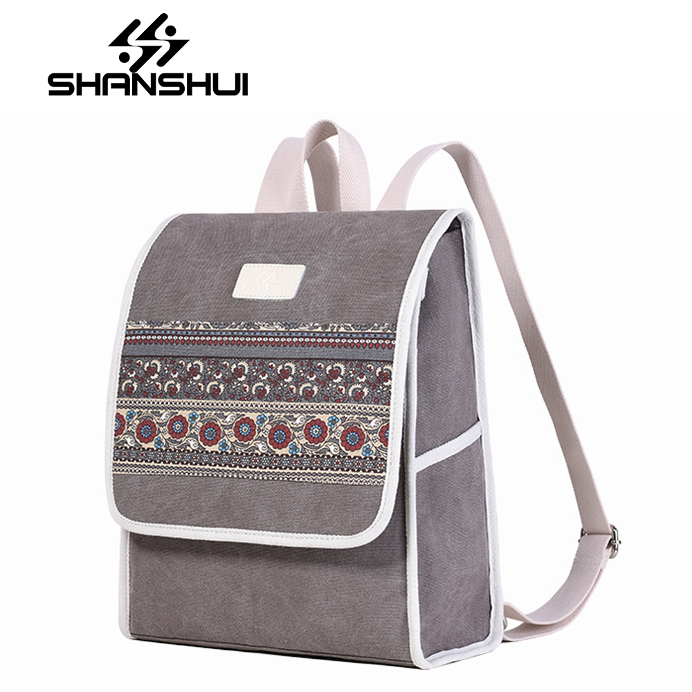 SHANSHUI Printing Backpack For Teenage Girls Bagpack Canvas Women Schoolbag Chidren Backpack Schoolbag Large Capacity Mochila
