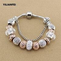 YILIANFEI White Peach Zircon Chamilia Beads DIY Fashion Cute Elegant Charm Pandora Bracelets Bangles For Women
