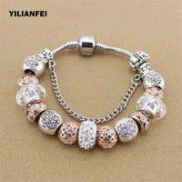YILIANFEI White Peach Zircon Chamilia Beads DIY Fashion Cute Elegant Charm Pandora Bracelets Bangles For Women