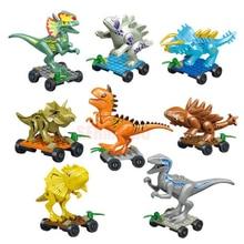 8PCS/LOT Dinosaur DIY Assembly Building Blocks Dino Toys Jurassic World Bricks Christmas Birthday Gift Educational Toy