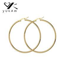 YUKAM золото Нержавеющая сталь большие круглые серьги-кольца с длинным Баскетбол знаменитости креольский серьги вrincos бижутерия для Для женщин