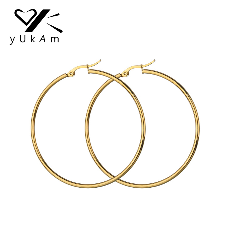 YUKAM Gold Stainless Steel Big Circle Round Hoop Earrings Long Basketball Celebrity Creole Earrings Brincos Jewelry for Women