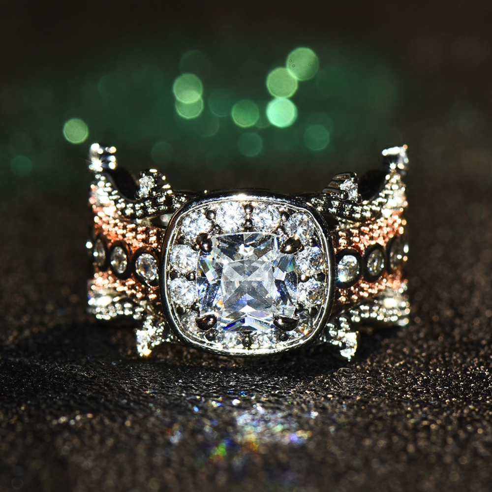 Verlobungsringe Boho Weibliche Kristall Zirkon Stein Ring Nette Kleine 925 Silber Rose Gold Farbe Finger Ring Versprechen Engagement Ringe Für Frauen Schmuck & Zubehör
