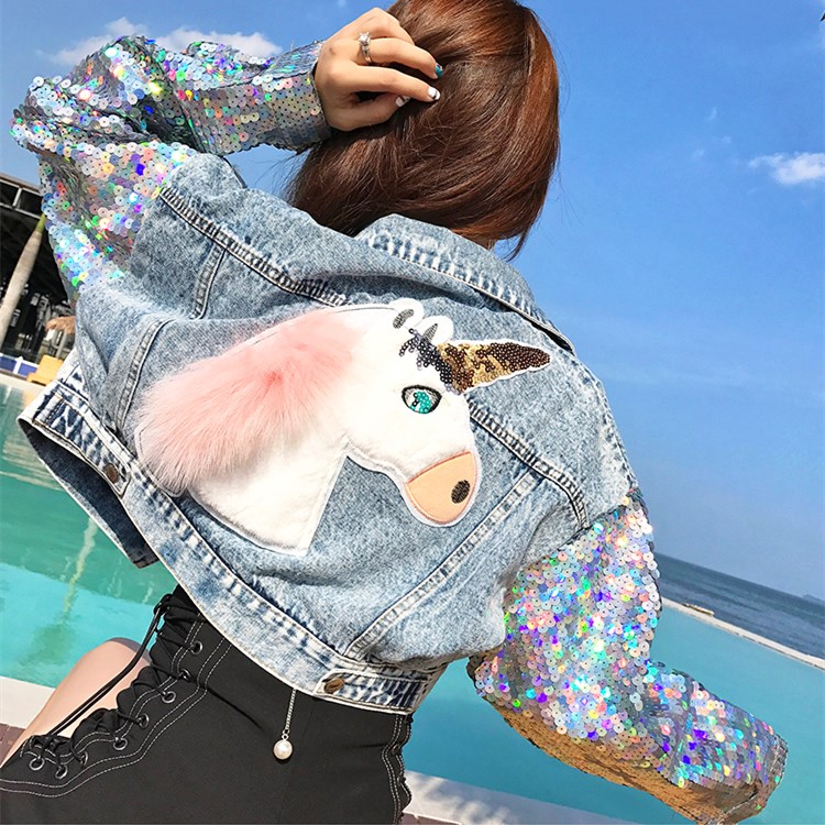 Punk Bling paillettes manches Jaqueta Denim veste courte conception femmes Rock Denim manteau chaquetas de mezclilla mujere Outwear NZ103