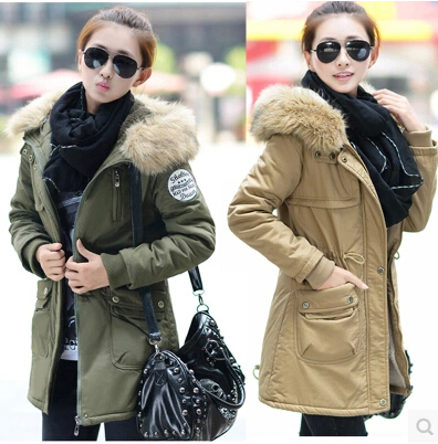 New Winter Women's Fleece Parka Warm Coat Hoodie Overcoat Long Jacket Army Green plus size padded coat Frees Shipping new 2015 autumn winter outdoors medium long fleece jacket fur hooded army green parka men thickening coat 10