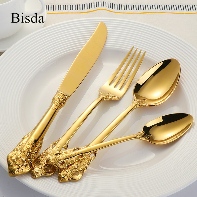 Western Luxury Dinnerware Set Stainless Steel Cutlery Engraving Gold Wedding Dining Knife Fork Tablespoon