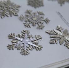 Exquisite snowflakes high qualilty Silver christmas clothes patch diy fabric applique embroidery patch stickers