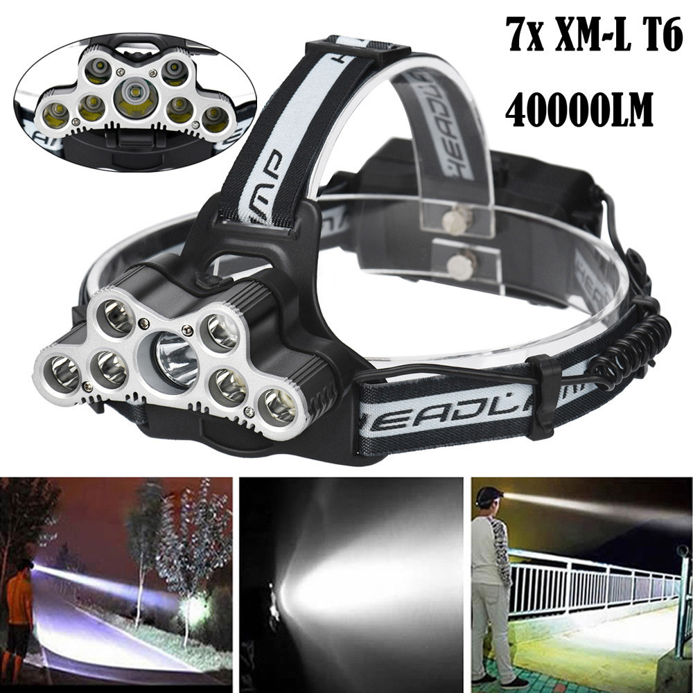 High quality Ultra bright 40000 LM 7X XM-L T6 LED Rechargeable Headlamp Headlight Travel Head Torch 6 modes Waterproof 200-500 m p80 panasonic super high cost complete air cutter torches torch head body straigh machine arc starting 12foot