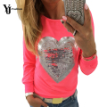 YJ Fashion Long Sleeve Tops Autumn Long Sleeve Slim T Shirt Women Heart Pattern Printed Sexy Tee Shirt Femme Sequins Office Wear