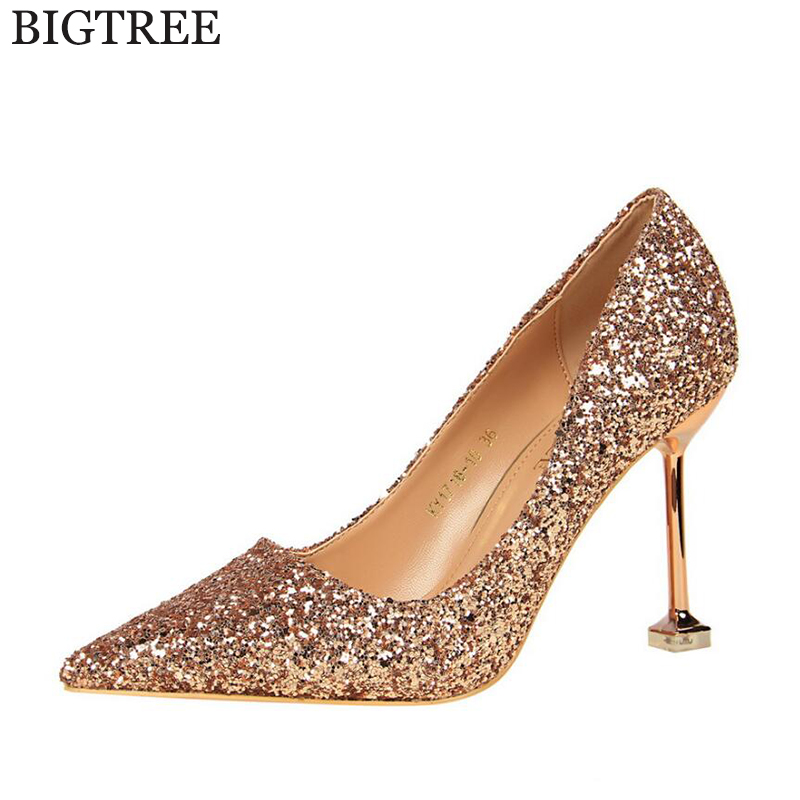 BIGTREE New 2017 Spring Autumn Women Pumps Sexy Black Gold Silver High Heels Shoes Fashion Luxury Sequins Wedding Party Shoes k4