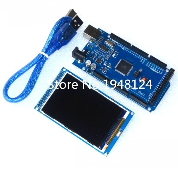 Бесплатная доставка! ЖК-экран 3,5 дюйма TFT, модуль Ultra HD 320X480 для Arduino + MEGA 2560 R3, плата с usb-кабелем