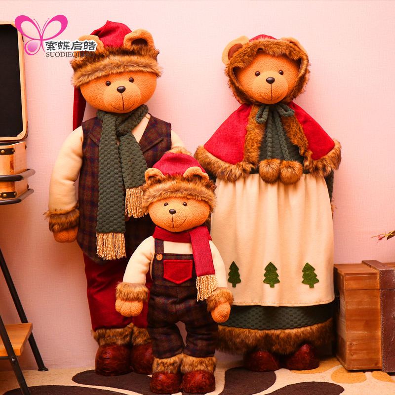 Christmas Tree Decoration Doll Ornament Supermarket Window Display Party Festival Home Decor Bear Dolls Family Great Gift great spaces home extensions лучшие пристройки к дому