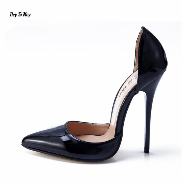 HSM feminino Stiletto Crossdresser Pointed Toe Professional women shoes  14CM thin heels shoes woman Cosplay pumps Plus 40-48 49 d0fa1b689bf2