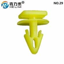 KE LI MI NO.29 Car Interior Door Card Trim Panel Mounting Clips Yellow Plastic Square head