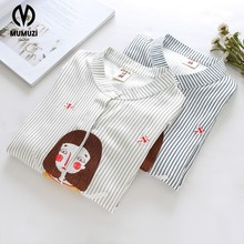 2017 summer women loose thin cotton shirt hollow out embroidery cartoon cat Stand-neck short sleeve blouse MUMUZI