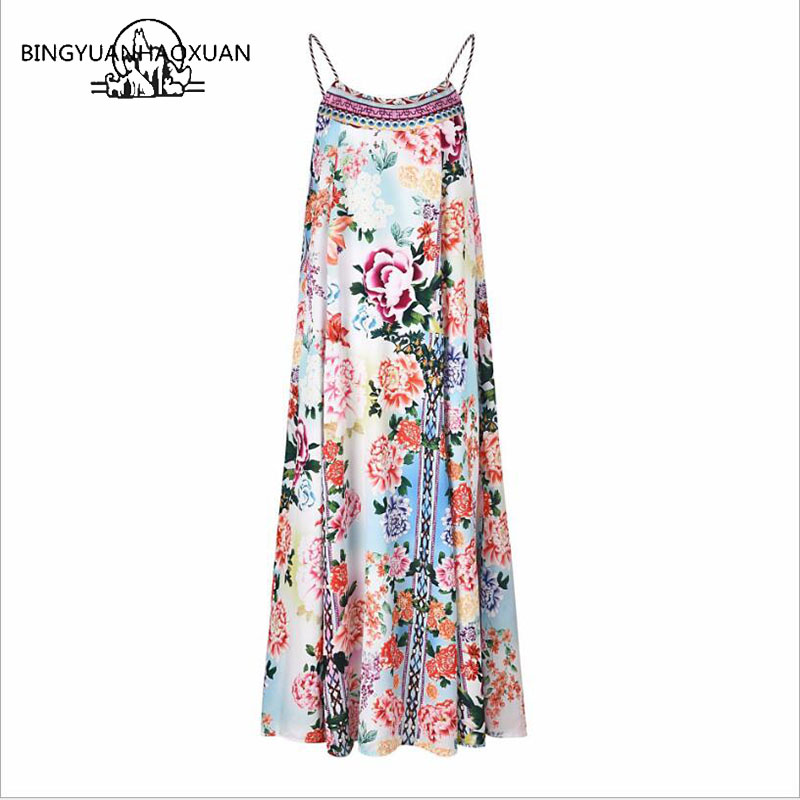 BINGYUANHAOXUAN Floral Print Halter Chiffon Long Dress Women Backless Maxi Dresses Vestidos Sexy White Split Beach Summer Dress