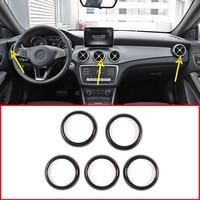 5Pcs Carbon Fiber ABS Car Air Conditioning Vent Ring Trim For Mercedes benz CLA GLA A Class A180 W176 C117 GLA200 Accessories