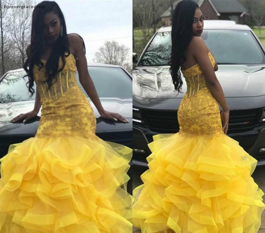 Vestidos de Festa à Noite Amarelo Prom Vestidos Longos 2020 Sul Africano Negro Meninas Namorada Apliques Feriados Graduação Desgaste Cor